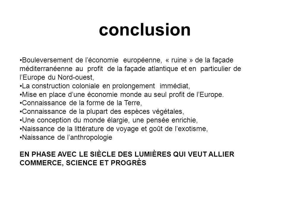 conclusion Bouleversement de léconomie européenne, « ruine » de la façade méditerranéenne au profit de la façade atlantique et en particulier de lEuro