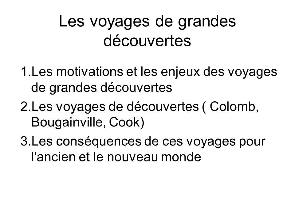 Les voyages de grandes découvertes 1.Les motivations et les enjeux des voyages de grandes découvertes 2.Les voyages de découvertes ( Colomb, Bougainvi