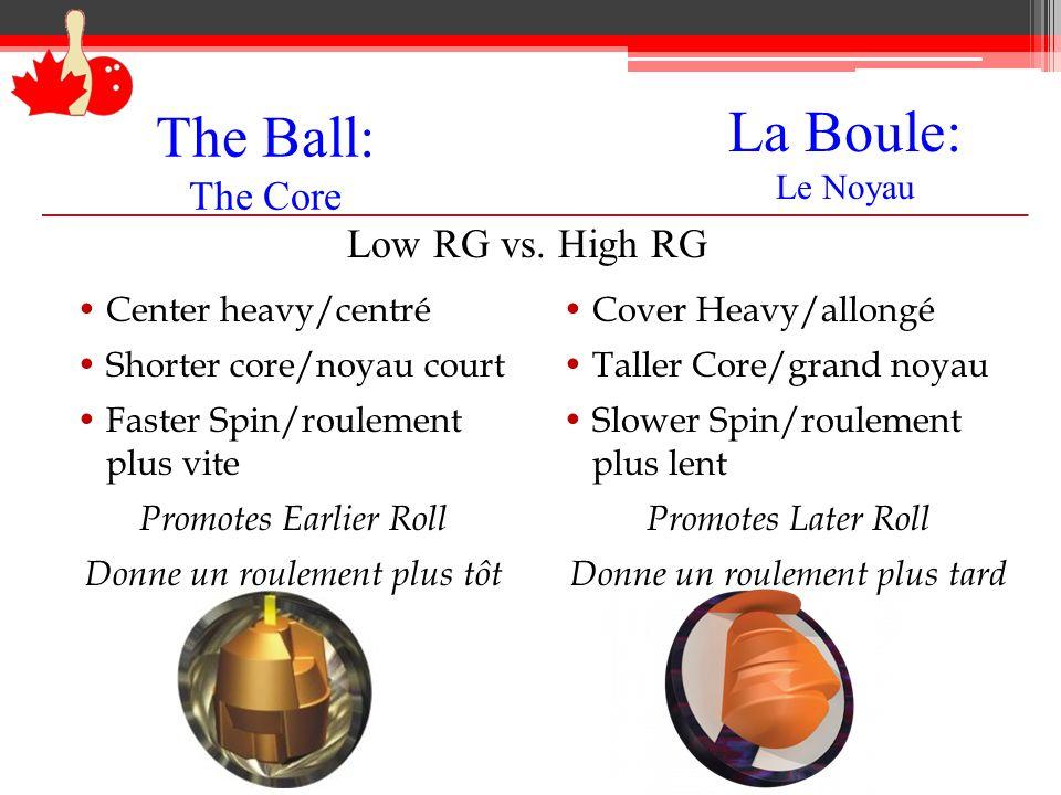 The Ball: The Core Center heavy/centré Shorter core/noyau court Faster Spin/roulement plus vite Promotes Earlier Roll Donne un roulement plus tôt Cove