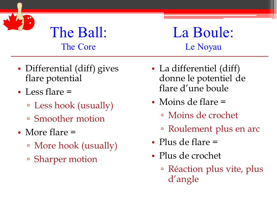 The Ball: The Core Differential (diff) gives flare potential Less flare = Less hook (usually) Smoother motion More flare = More hook (usually) Sharper
