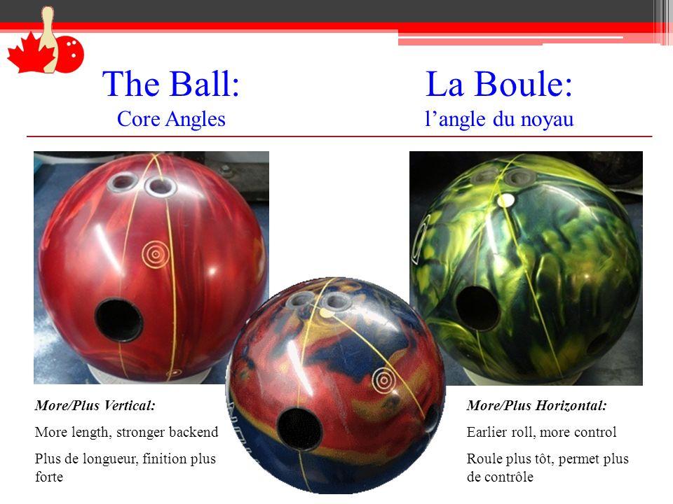 The Ball: Core Angles La Boule: langle du noyau More/Plus Vertical: More length, stronger backend Plus de longueur, finition plus forte More/Plus Hori