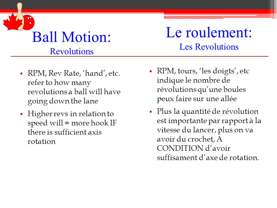 Ball Motion: Revolutions RPM, Rev Rate, hand, etc.