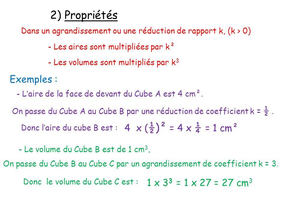 2) Propriétés Dans un agrandissement ou une réduction de rapport k, (k > 0) - Les aires sont multipliées par k² - Les volumes sont multipliés par k 3