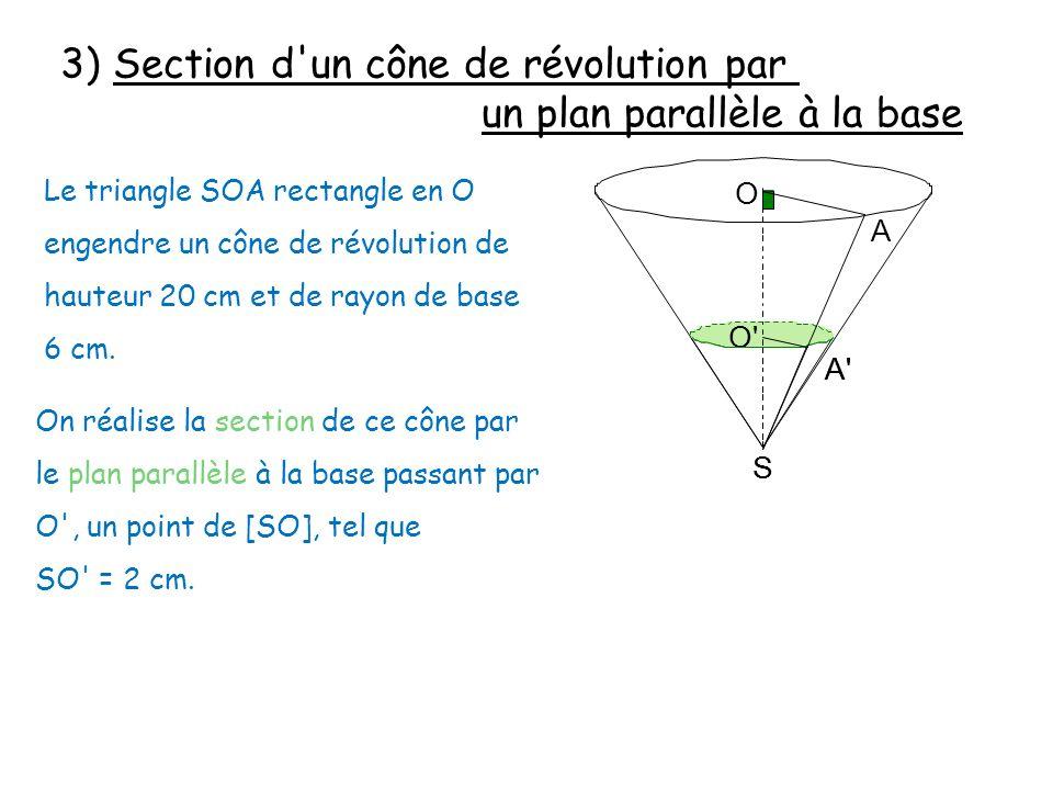 S O' A' 3) Section d'un cône de révolution par un plan parallèle à la base Le triangle SOA rectangle en O engendre un cône de révolution de hauteur 20