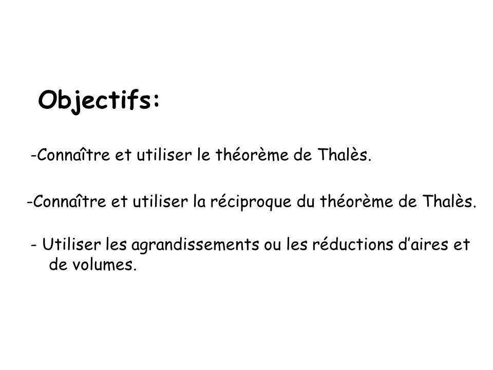 Objectifs: -Connaître et utiliser le théorème de Thalès. -Connaître et utiliser la réciproque du théorème de Thalès. - Utiliser les agrandissements ou