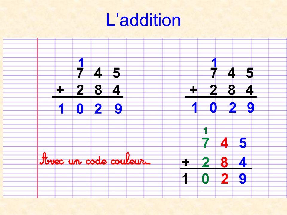 Laddition 7 4 5 + 2 8 4 2 1 1 0 7 4 5 + 2 8 4 9 921 0 1 Avec un code couleur… 7 4 5 + 2 8 4 21 09 1