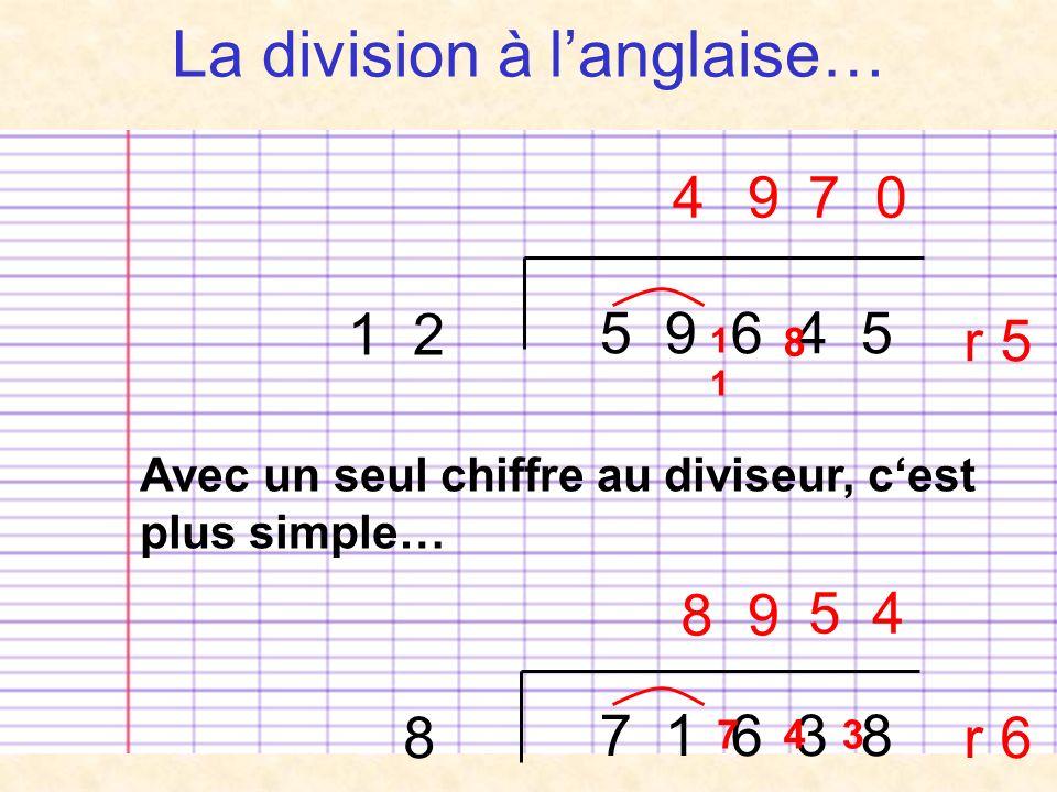La division à langlaise… 5 9 6 4 5 1 2 4 1 9 8 70 r 5 Avec un seul chiffre au diviseur, cest plus simple… 8 7 1 6 3 8 8 7 9 4 5 3 4 r 6