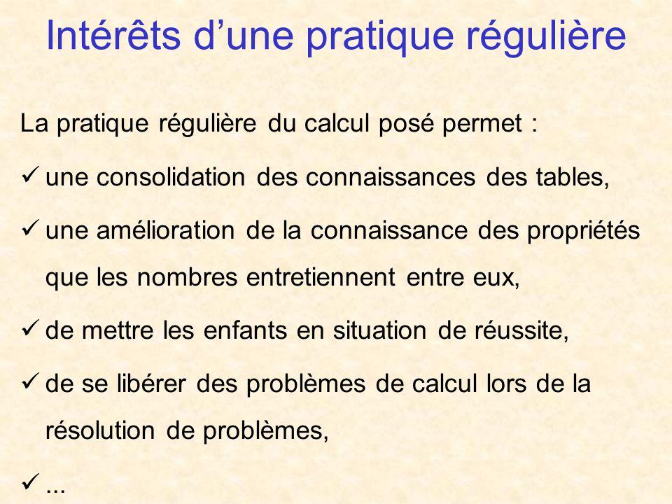 Intérêts dune pratique régulière La pratique régulière du calcul posé permet : une consolidation des connaissances des tables, une amélioration de la