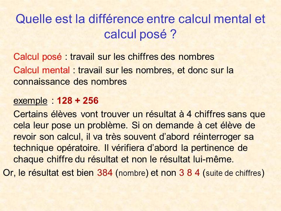 Quelle est la différence entre calcul mental et calcul posé .