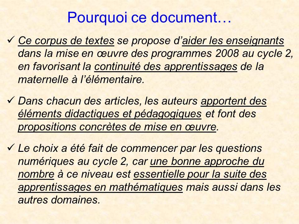 Pourquoi ce document… Ce corpus de textes se propose daider les enseignants dans la mise en œuvre des programmes 2008 au cycle 2, en favorisant la continuité des apprentissages de la maternelle à lélémentaire.