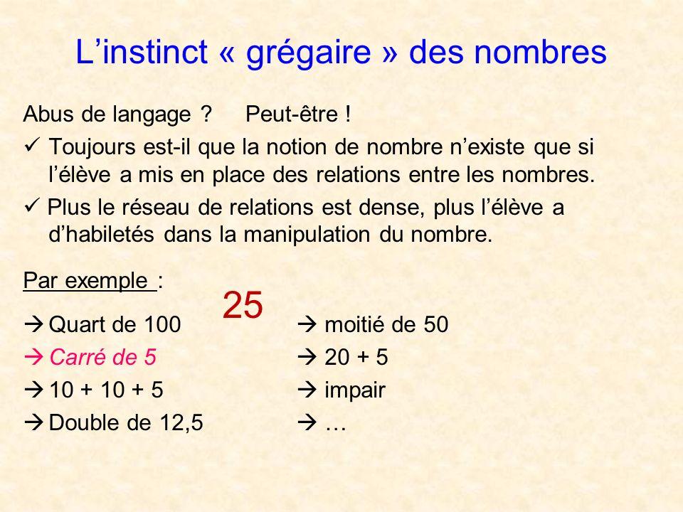 Linstinct « grégaire » des nombres Abus de langage ? Toujours est-il que la notion de nombre nexiste que si lélève a mis en place des relations entre