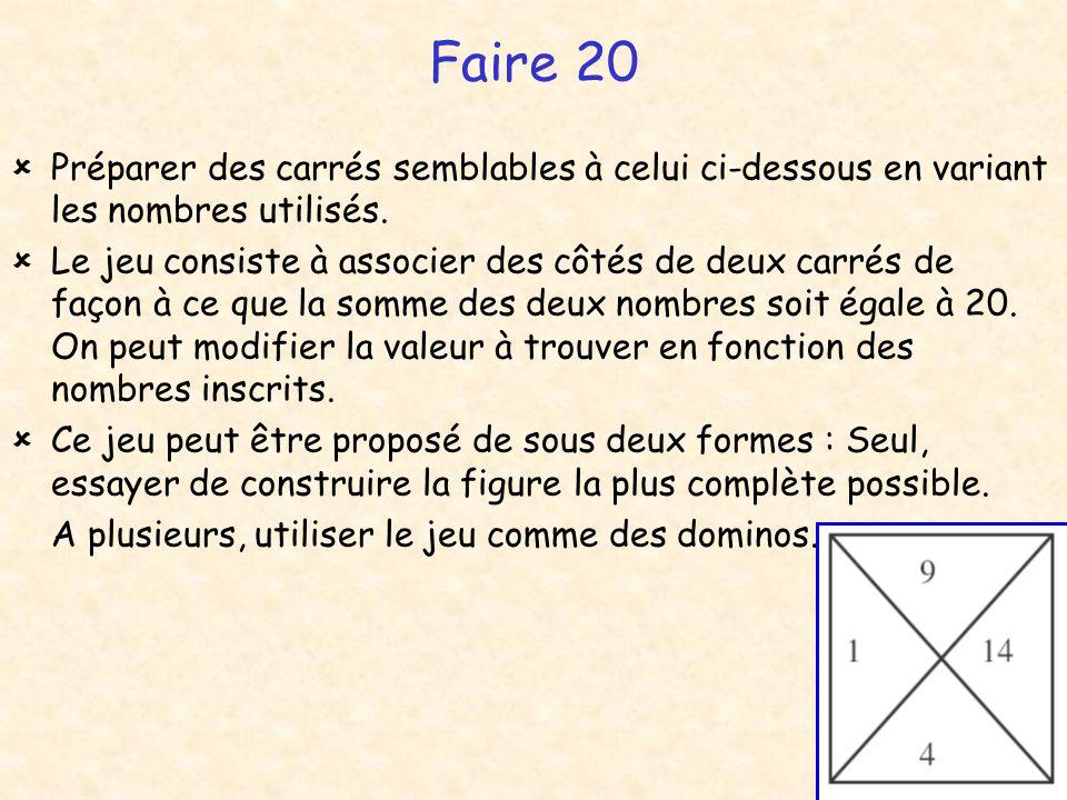 Faire 20 Préparer des carrés semblables à celui ci-dessous en variant les nombres utilisés. Le jeu consiste à associer des côtés de deux carrés de faç