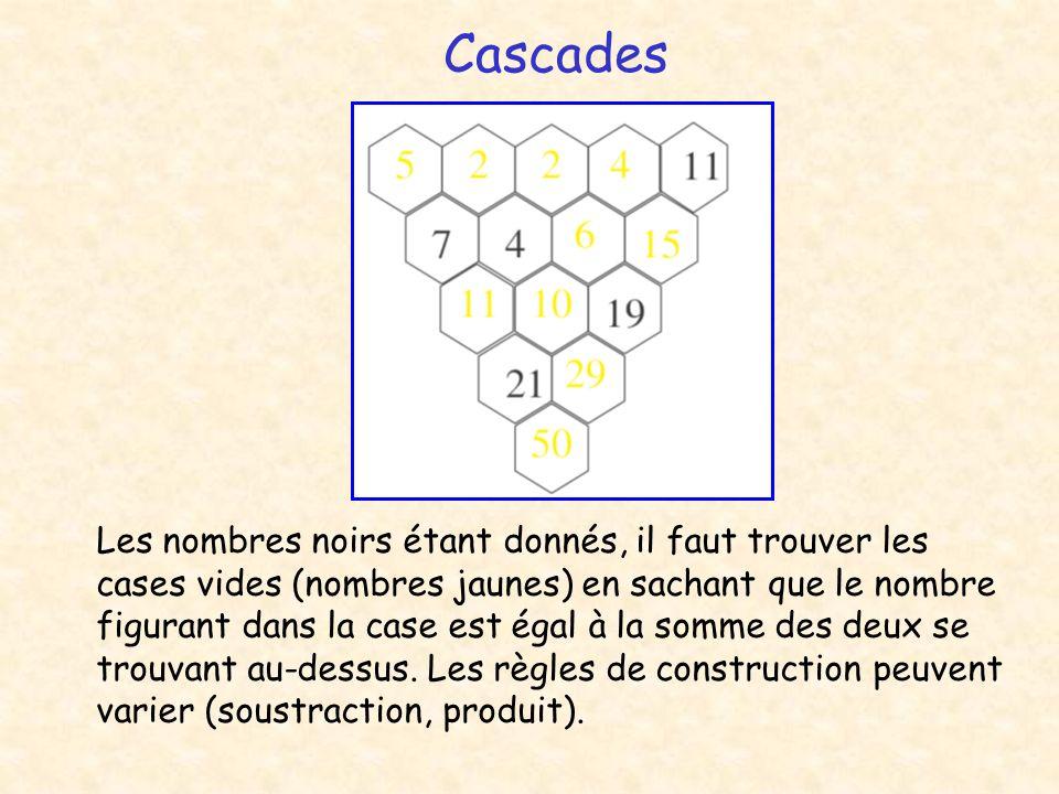Cascades Les nombres noirs étant donnés, il faut trouver les cases vides (nombres jaunes) en sachant que le nombre figurant dans la case est égal à la somme des deux se trouvant au-dessus.