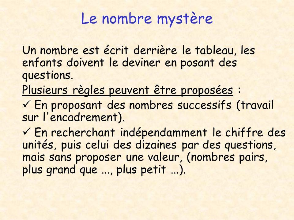 Le nombre mystère Un nombre est écrit derrière le tableau, les enfants doivent le deviner en posant des questions. Plusieurs règles peuvent être propo