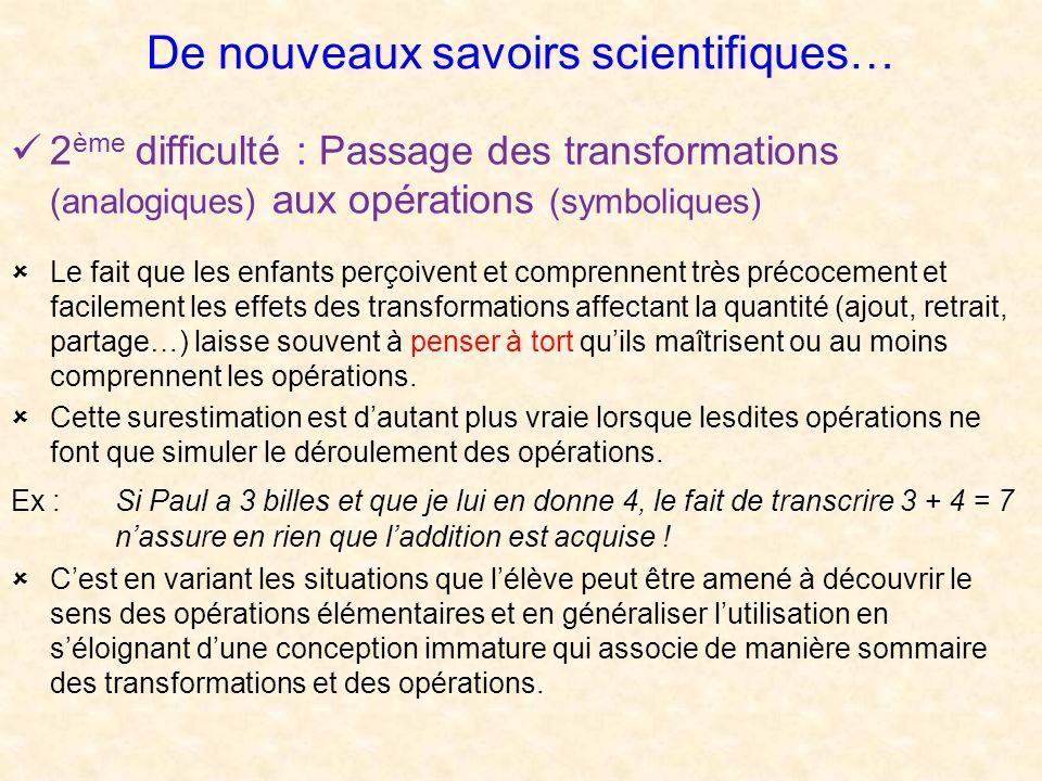 De nouveaux savoirs scientifiques… 2 ème difficulté : Passage des transformations (analogiques) aux opérations (symboliques) Le fait que les enfants p