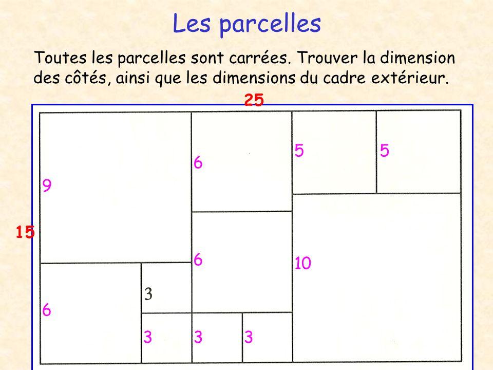 Les parcelles Toutes les parcelles sont carrées. Trouver la dimension des côtés, ainsi que les dimensions du cadre extérieur. 333 6 9 6 6 10 55 15 25