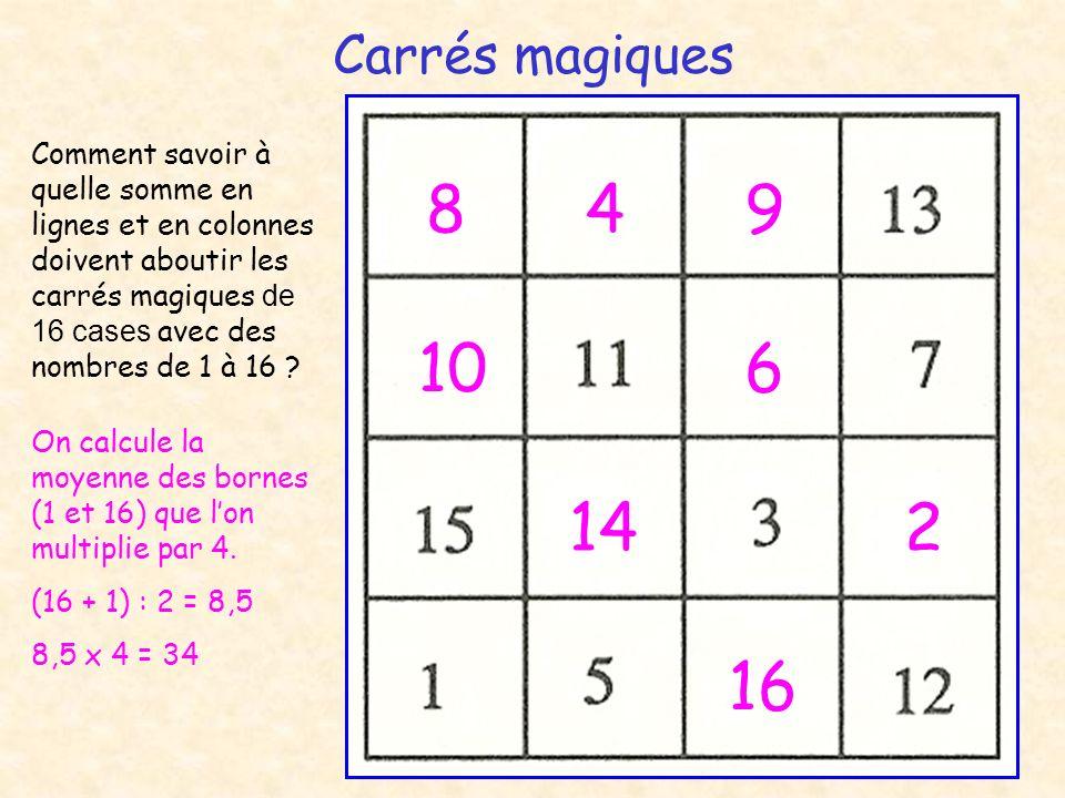 Carrés magiques 948 106 142 16 Comment savoir à quelle somme en lignes et en colonnes doivent aboutir les carrés magiques de 16 cases avec des nombres de 1 à 16 .