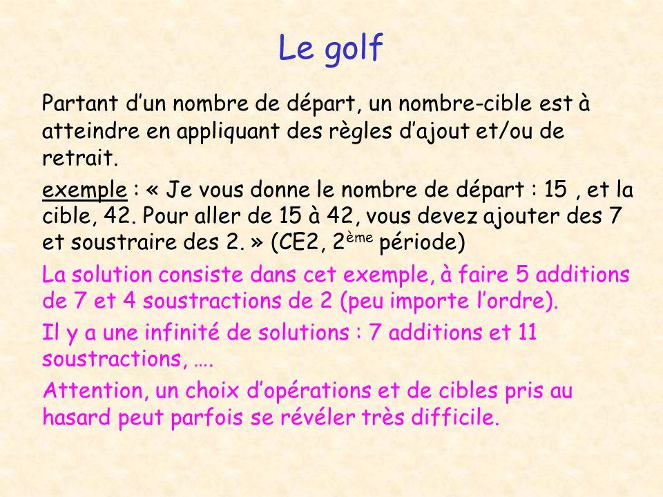 Le golf Partant dun nombre de départ, un nombre-cible est à atteindre en appliquant des règles dajout et/ou de retrait. exemple : « Je vous donne le n