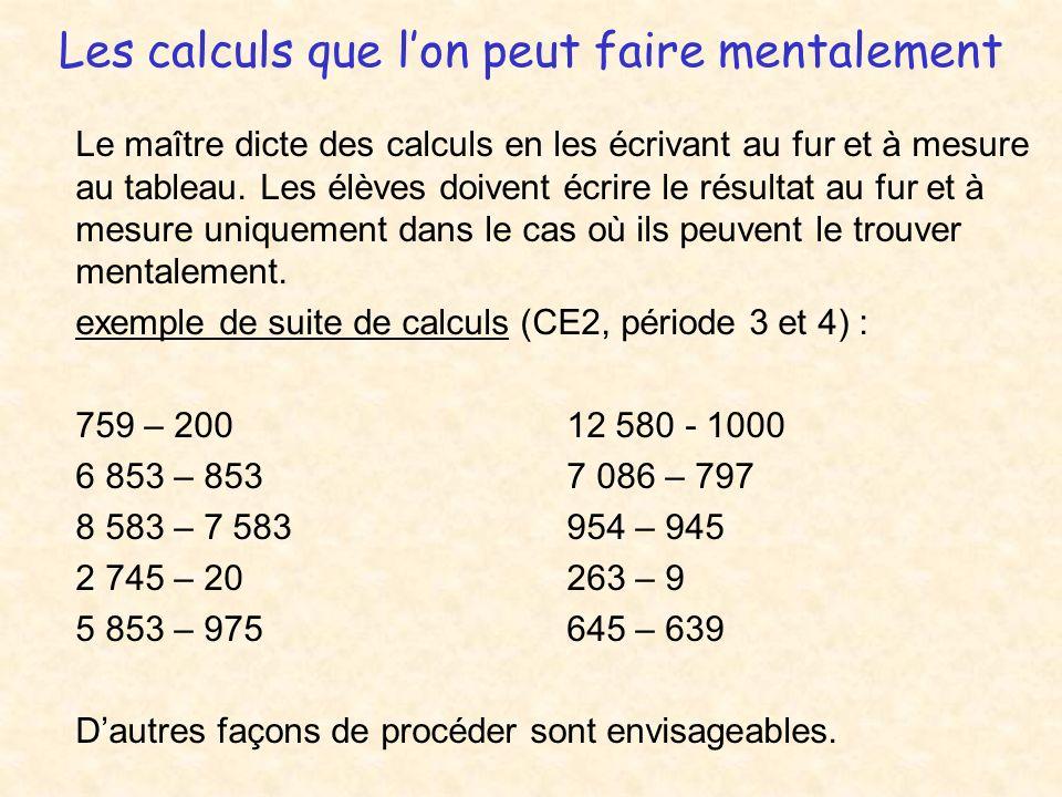 Les calculs que lon peut faire mentalement Le maître dicte des calculs en les écrivant au fur et à mesure au tableau. Les élèves doivent écrire le rés