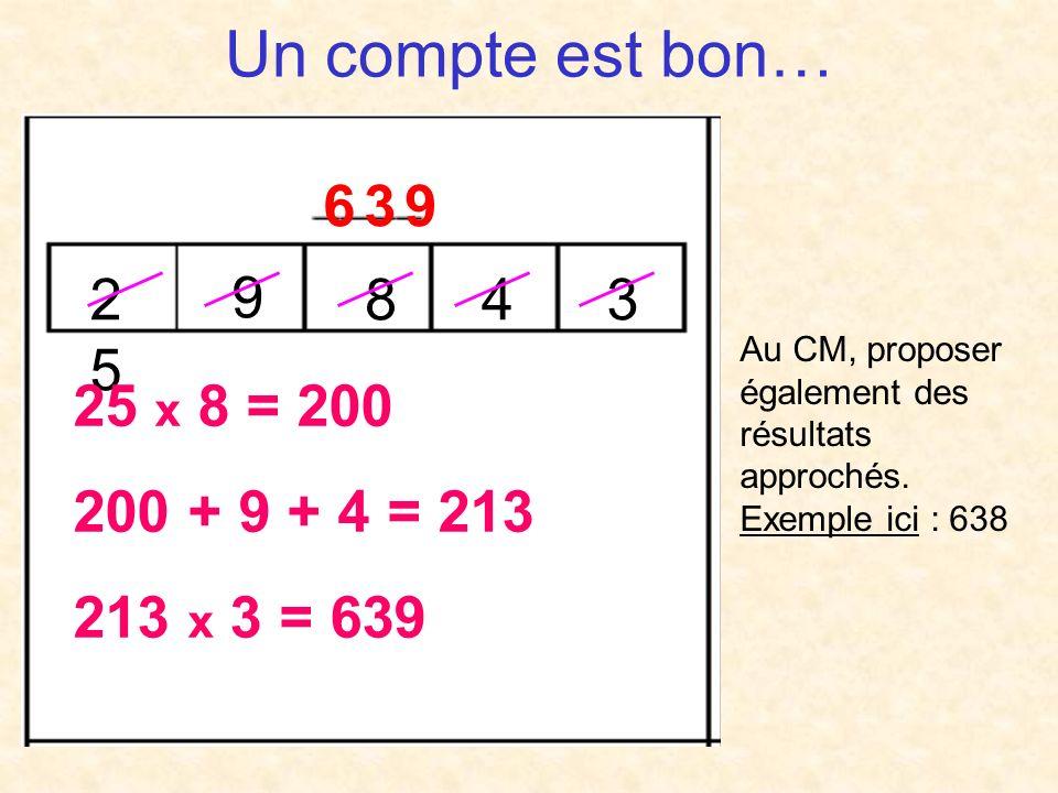 Un compte est bon… 2525 9 843 6 3 96 3 9 25 x 8 = 200 200 + 9 + 4 = 213 213 x 3 = 639 Au CM, proposer également des résultats approchés.