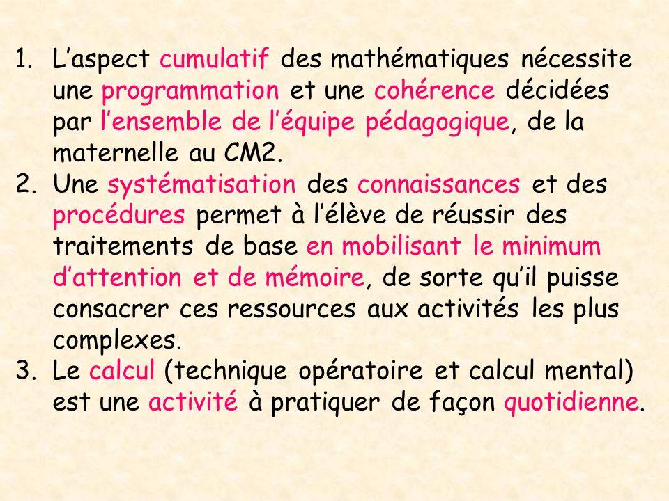 1.Laspect cumulatif des mathématiques nécessite une programmation et une cohérence décidées par lensemble de léquipe pédagogique, de la maternelle au CM2.