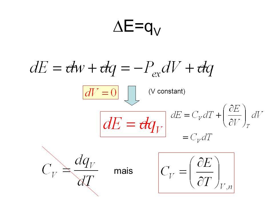 E=q V (V constant) mais