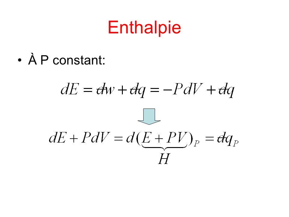 Enthalpie À P constant: