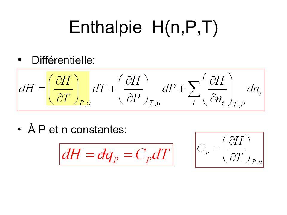 Différentielle: À P et n constantes: Enthalpie H(n,P,T)