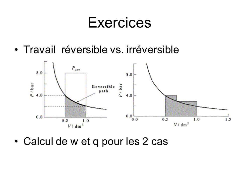 Exercices Travail réversible vs. irréversible Calcul de w et q pour les 2 cas