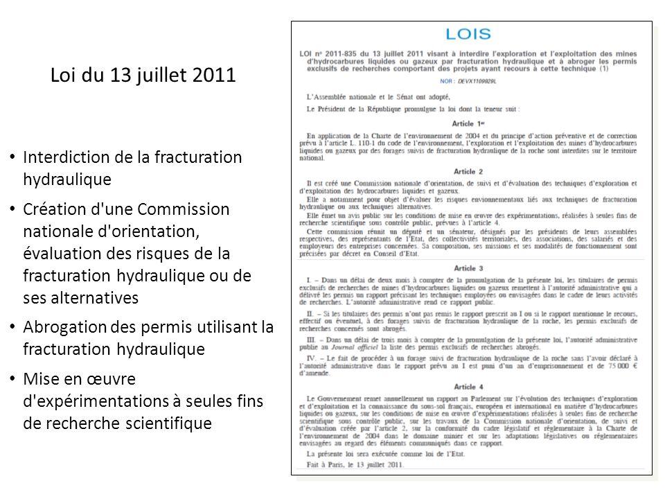 Loi du 13 juillet 2011 Interdiction de la fracturation hydraulique Création d'une Commission nationale d'orientation, évaluation des risques de la fra