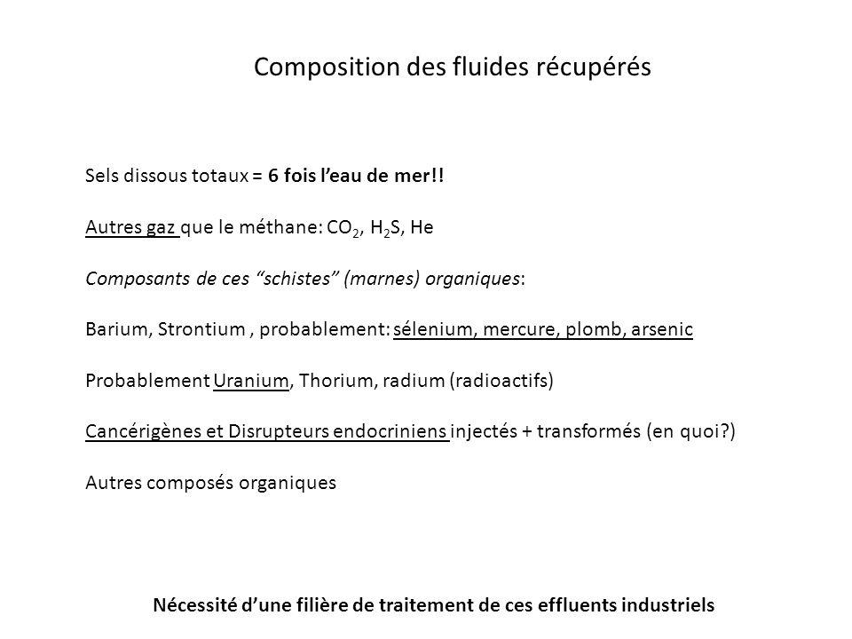 Composition des fluides récupérés Sels dissous totaux = 6 fois leau de mer!! Autres gaz que le méthane: CO 2, H 2 S, He Composants de ces schistes (ma
