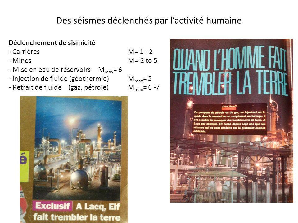 Des séismes déclenchés par lactivité humaine Déclenchement de sismicité - CarrièresM= 1 - 2 - MinesM=-2 to 5 - Mise en eau de réservoirsM max = 6 - In
