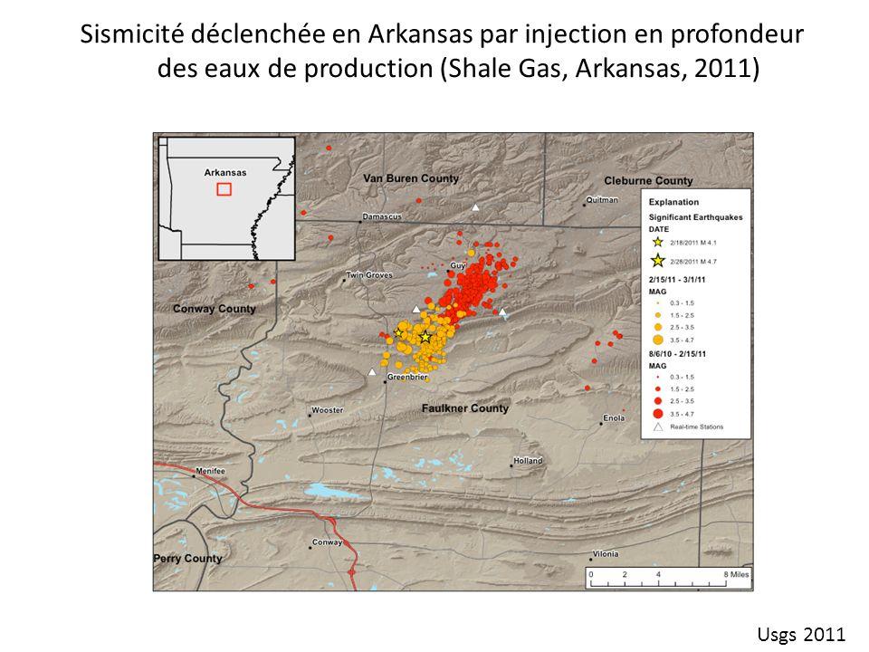 Sismicité déclenchée en Arkansas par injection en profondeur des eaux de production (Shale Gas, Arkansas, 2011) Usgs 2011