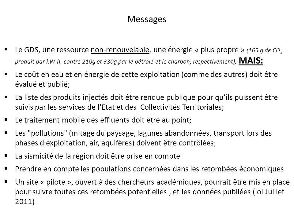 Messages Le GDS, une ressource non-renouvelable, une énergie « plus propre » (165 g de CO 2 produit par kW-h, contre 210g et 330g par le pétrole et le