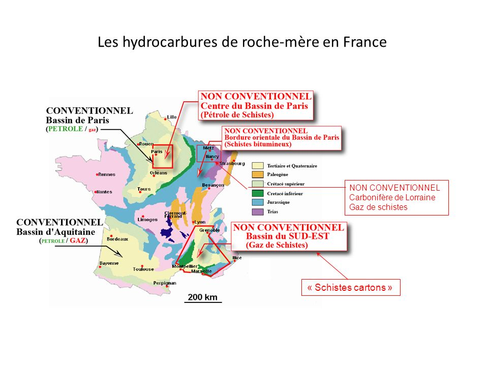 Les hydrocarbures de roche-mère en France « Schistes cartons » NON CONVENTIONNEL Carbonifère de Lorraine Gaz de schistes