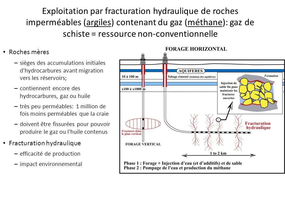 Roches mères – sièges des accumulations initiales d'hydrocarbures avant migration vers les réservoirs; – contiennent encore des hydrocarbures, gaz ou