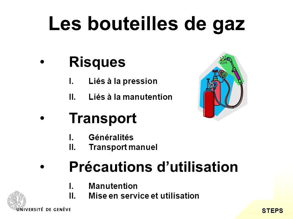 STEPS Les bouteilles de gaz Risques I.Liés à la pression II.Liés à la manutention Transport I.Généralités II.Transport manuel Précautions dutilisation