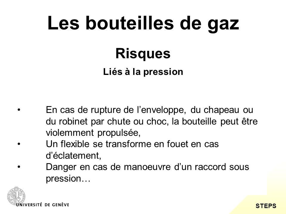 STEPS Les bouteilles de gaz Risques Liés à la manutention Les bouteilles de gaz sont des équipements lourds qui, lors de leur transport et de leur manutention, peuvent provoquer des dorsalgies et / ou, en cas de chute, des blessures (contusions ou fractures).