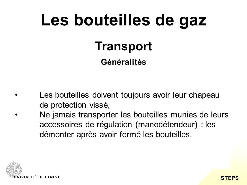 STEPS Les bouteilles de gaz Transport Ne pas traîner ni soulever une grande bouteille par le chapeau.