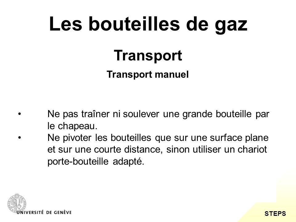 STEPS Les bouteilles de gaz Transport Ne pas traîner ni soulever une grande bouteille par le chapeau. Ne pivoter les bouteilles que sur une surface pl