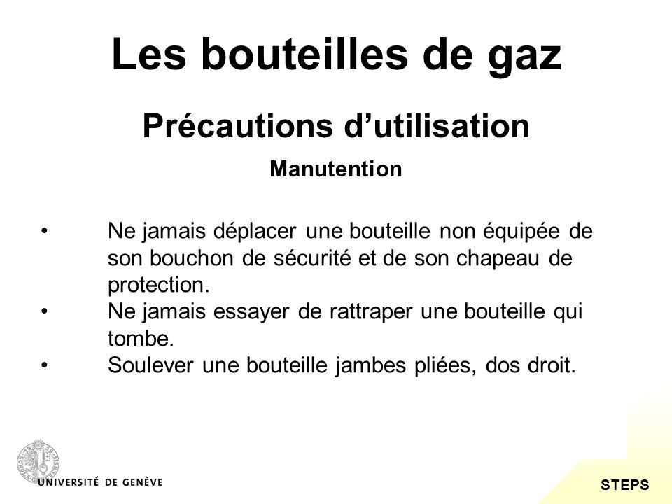 STEPS Les bouteilles de gaz Précautions dutilisation Ne jamais graisser un robinet.