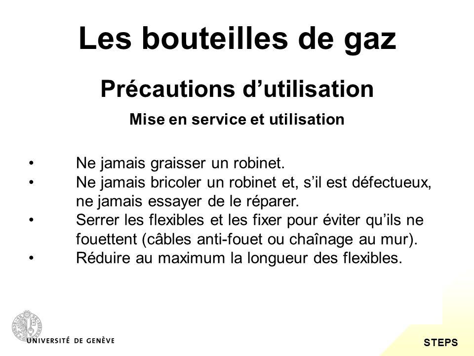 STEPS Les bouteilles de gaz Précautions dutilisation Contrôler régulièrement les gaines de protection, les raccords, les filetages et les joints et respecter leur date de remplacement.