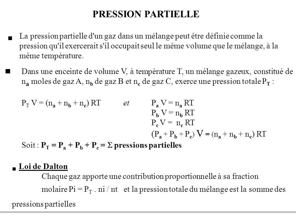 PCEM1 – Biophysique- 10 - PRESSION PARTIELLE Dans une enceinte de volume V, à température T, un mélange gazeux, constitué de n a moles de gaz A, n b d