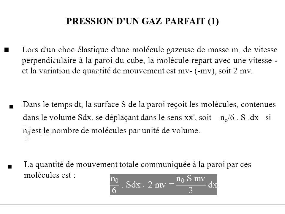 PCEM1 – Biophysique- 21 - PRESSION D'UN GAZ PARFAIT (1) Lors d'un choc élastique d'une molécule gazeuse de masse m, de vitesse perpendiculaire à la pa