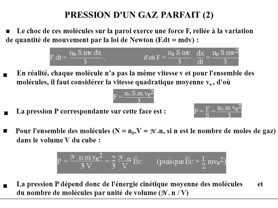 PCEM1 – Biophysique- 22 - PRESSION D'UN GAZ PARFAIT (2) Pour l'ensemble des molécules (N = n 0.V = N.n, si n est le nombre de moles de gaz) dans le vo