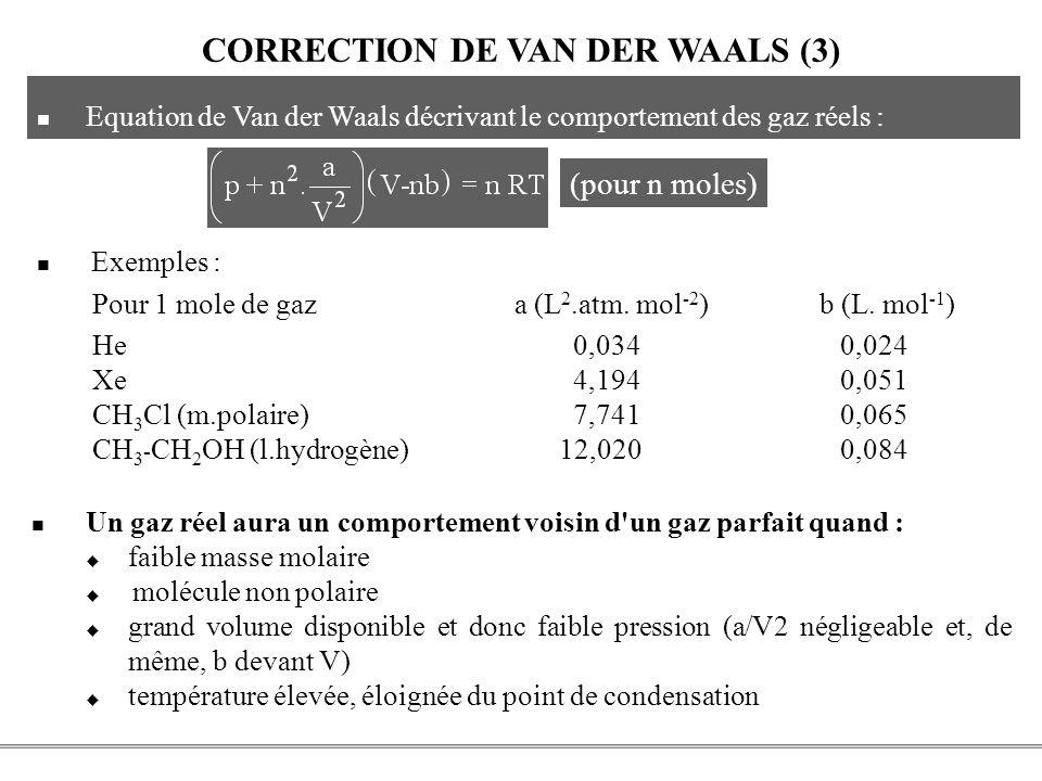 PCEM1 – Biophysique- 31 - CORRECTION DE VAN DER WAALS (3) Equation de Van der Waals décrivant le comportement des gaz réels : (pour n moles) Exemples