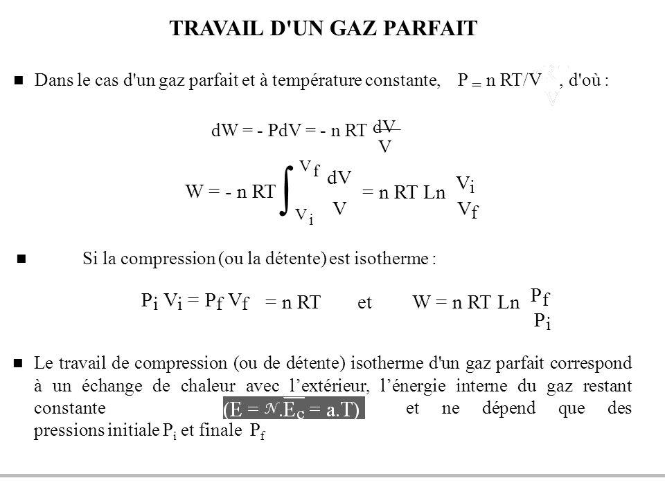 PCEM1 – Biophysique- 33 - TRAVAIL D'UN GAZ PARFAIT Le travail de compression (ou de détente) isotherme d'un gaz parfait correspond à un échange de cha