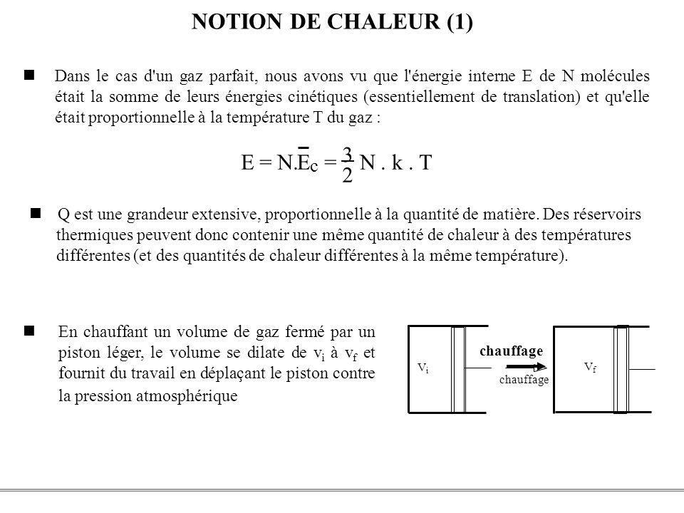 PCEM1 – Biophysique- 34 - NOTION DE CHALEUR (1) Dans le cas d'un gaz parfait, nous avons vu que l'énergie interne E de N molécules était la somme de l
