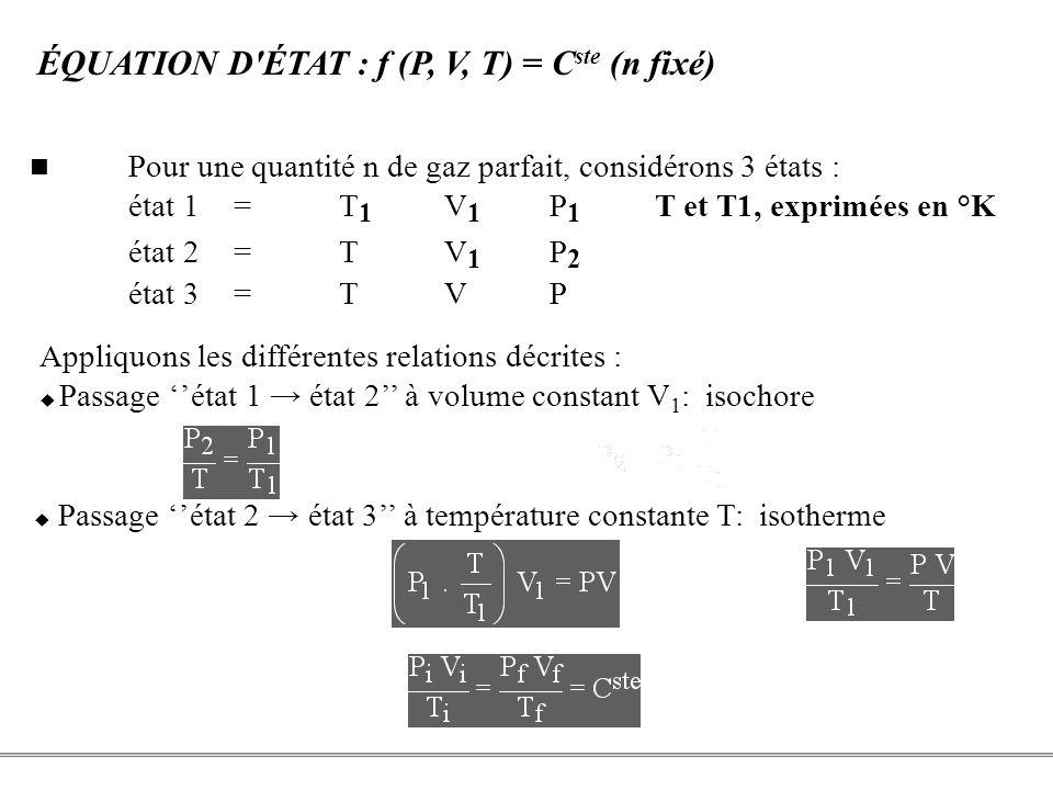 PCEM1 – Biophysique- 8 - ÉQUATION D'ÉTAT : f (P, V, T) = C ste (n fixé) Passage état 2 état 3 à température constante T: isotherme P 2 V 1 = PV d'où :