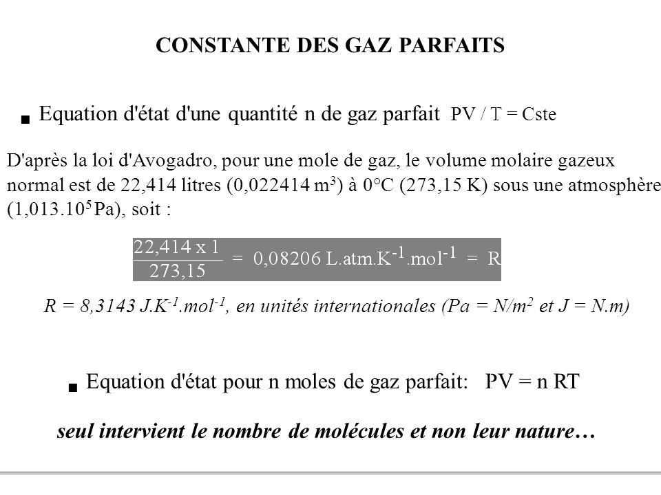 PCEM1 – Biophysique- 9 - CONSTANTE DES GAZ PARFAITS D'après la loi d'Avogadro, pour une mole de gaz, le volume molaire gazeux normal est de 22,414 lit